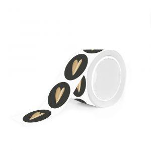 Mat gekleurde stickers gouden hart (HOP) 3