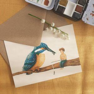 Kaart samen vissen ijsvogel, Esther Bennink 1