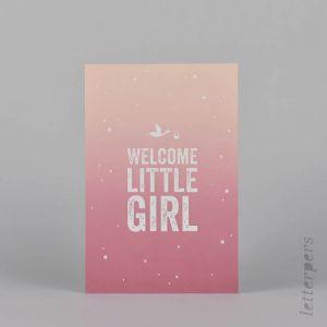 Kaart Welcome little girl (irisdruk), Letterpers 1