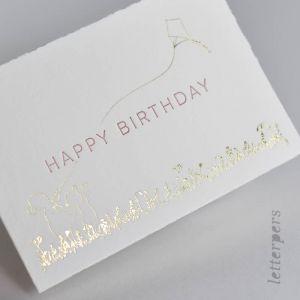 Kaart Happy Birthday rose met folie, Letterpers 2