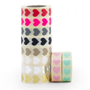 Stickers minihart in wit-goud-zilver-mint-craft-rood-fluorrose-zwart-grijs of babyrose 1