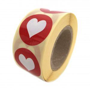 Sticker mint-babyroze-babyblauw-rood hartje 2