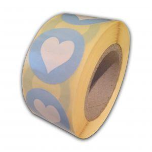 Sticker mint-babyroze-babyblauw-rood hartje 3