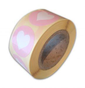 Sticker mint-babyroze-babyblauw-rood hartje 5