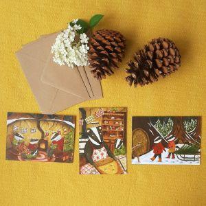 Kerstkaartenset Badgers Christmas, Esther Bennink 1