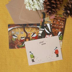 Kerstkaartenset Badgers Christmas, Esther Bennink 2