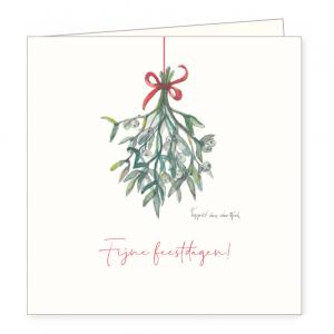 Kerstkaart mistletoe, Ingrid van der krol 1