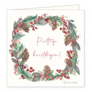 Kerstkaart kerstkrans, Ingrid van der krol 1