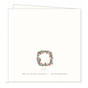 Kerstkaart kerstkrans, Ingrid van der krol 2
