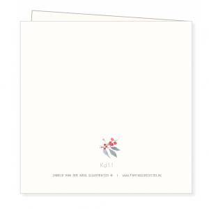 Kerstkaart blaadjeskrans, Ingrid van der krol 2