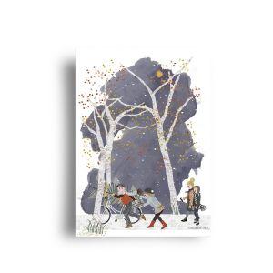 A6 kaart Kerstboom op de fiets, Studiozwaanstraat 4