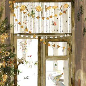 A5 Kerstkaart Muisje ontvangt bezoek, Ruth Hengeveld 2
