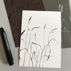 Kaart grassen in wit-grijs-bruin, Marieke ten Berge 2