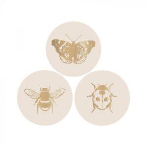 Stickers insect ivoor met goud 2