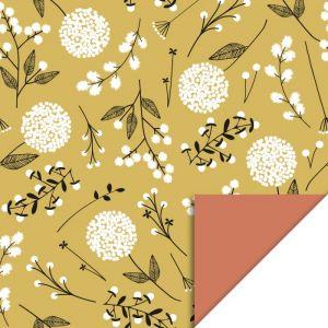 Cadeaupapier geel met witte bloem (HOP) 2