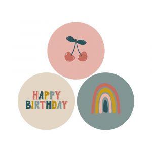 Sticker kers regenboog happy birthday (HOP) 2