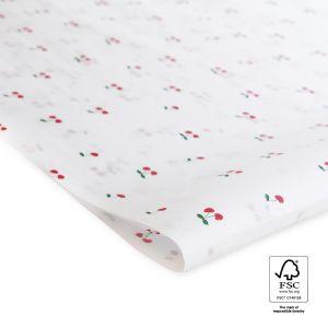 Vloeipapier wit met kersjes 1