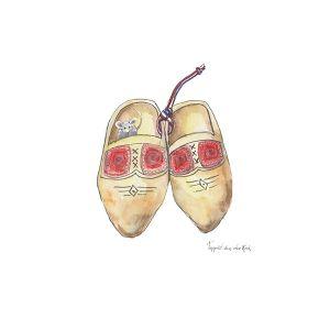 Minikaartje Hollandse klompjes, Ingrid van der Krol 1