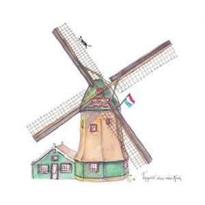 Minikaartje Hollandse molen, Ingrid van der Krol 1
