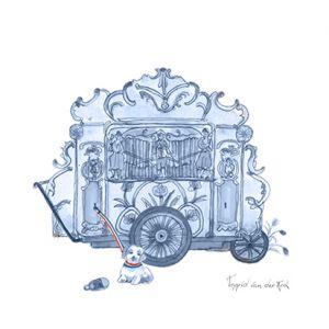 Minikaartje Hollandse blauw draaiorgel, Ingrid van der Krol 1