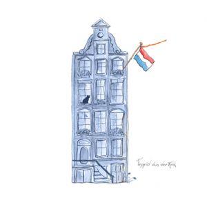 Minikaartje Hollandse blauw huisje, Ingrid van der Krol 1