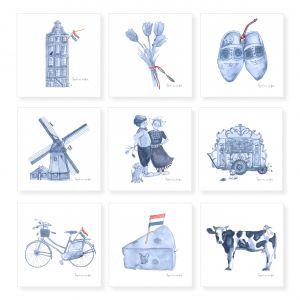 Minikaartje Hollands blauw molen, Ingrid van der Krol 2