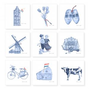 Minikaartje Hollands blauw boer/boerinnetje, Ingrid van der Krol 2