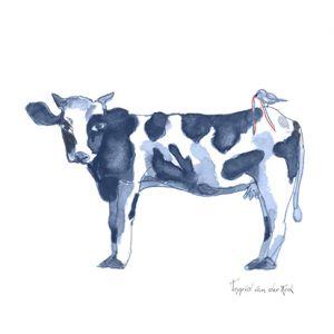 Minikaartje Hollands blauw koe, Ingrid van der Krol 1