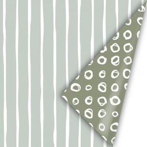 Cadeaupapier herfst 21 sage witte streep - groene dot (CWH) 2