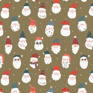 Cadeaupapier goud met kerstmannen (HOP) 4