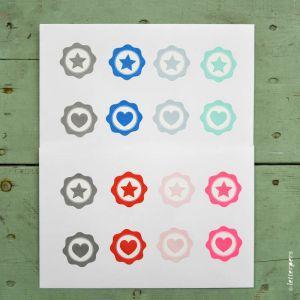 Sticker lichtblauwe ster Letterpers 2