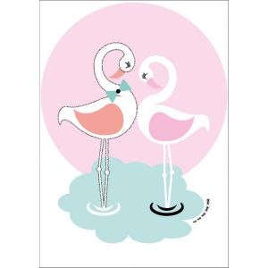 Sparkling Paper poster A3, Flamingo love 1