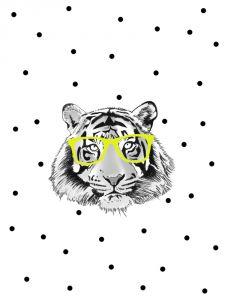 Poster tijger met gele bril, Minimel A3 2