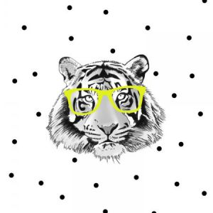 Poster tijger met gele bril, Minimel A3 1