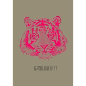 Poster tijger fluorroze, A4 Minimel 1