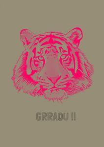 Poster tijger fluorroze, A4 Minimel 2