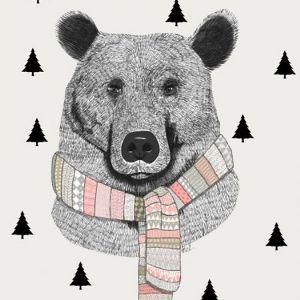 A4 Poster beer met sjaal en bomen Minimel 1