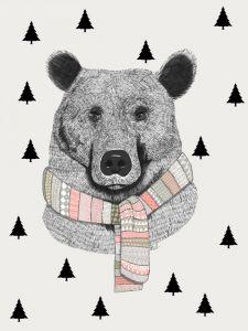 A4 Poster beer met sjaal en bomen Minimel