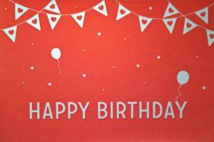 Kaart 'Happy Birthday' warm rose ambachtelijk gedrukt in Letterpers 1