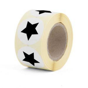Sticker rond wit met zwarte ster