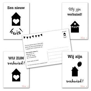 Verhuiskaart versie 2 met eigen tekst / verhuisbericht / housewarming 3
