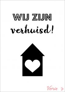 Verhuiskaart versie 3 met eigen tekst / verhuisbericht / housewarming 1