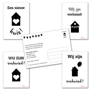 Verhuiskaart versie 3 met eigen tekst / verhuisbericht / housewarming 3