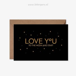 Love you to the Moon and the stars (zwart) Letterpers 3