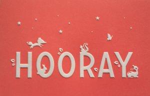 Wenskaart 'Hooray' warm rose ambachtelijk gedrukt in Letterpers 2