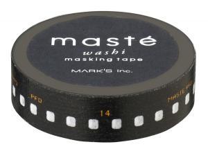 Masking tape in zwart met print negatief 1