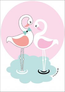 Sparkling Paper poster A3, Flamingo love 2