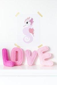 Sparkling Paper poster A3, Rose zeepaardje 1
