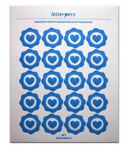 Sticker blauw hart Letterpers 1