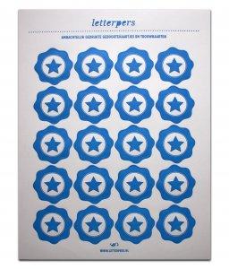 Sticker blauw ster Letterpers 1